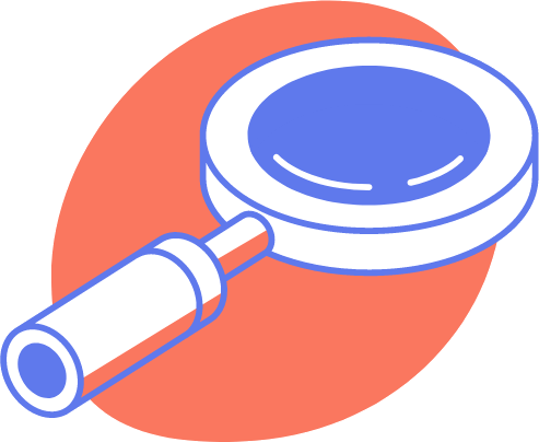 A drawing of a magnifying glass